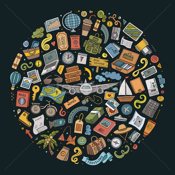 Vector doodle set of travel theme items Stock photo © balabolka