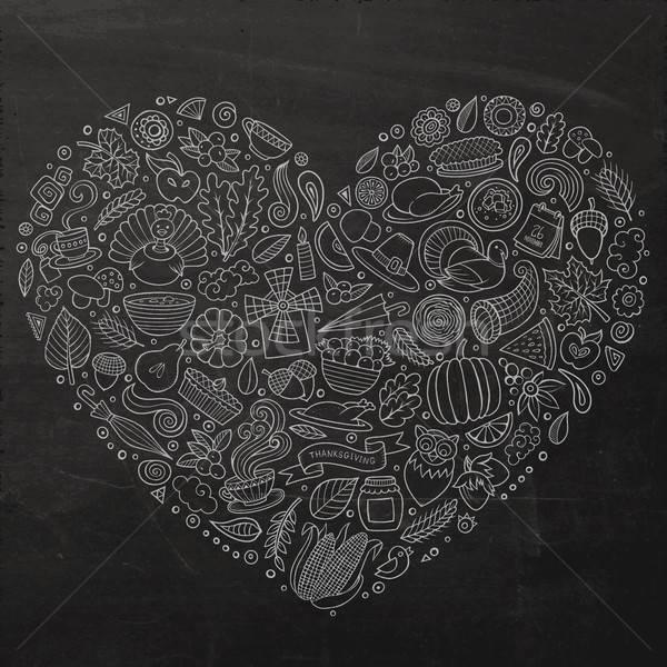 Photo stock: Action · de · grâces · cartoon · doodle · objets · symboles