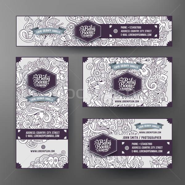 Corporate Identity templates set with doodles baby theme Stock photo © balabolka