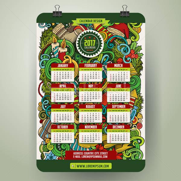 漫畫 手工繪製 塗鴉 新年好 年 日曆 商業照片 © balabolka