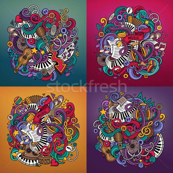 Music cartoon 4 square composition backgrounds Stock photo © balabolka