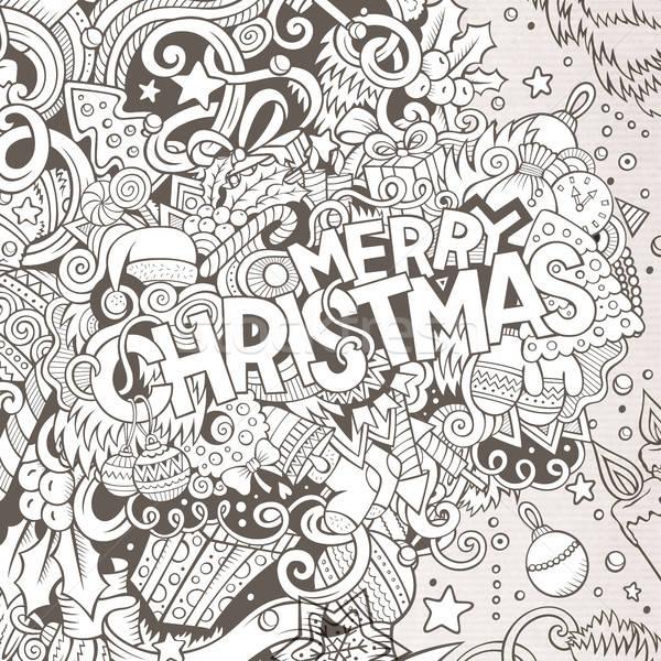 Desenho animado bonitinho alegre natal Foto stock © balabolka