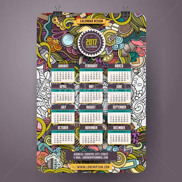 Cartoon doodles Beauty 2017 year calendar template Stock photo © balabolka