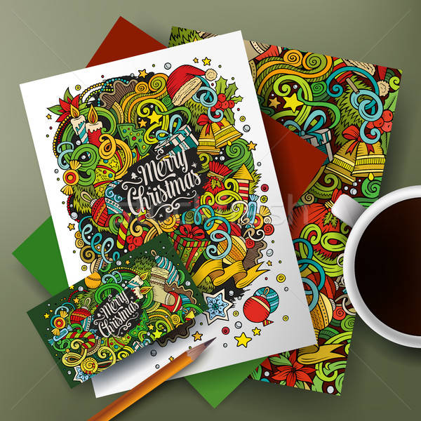 Cartoon doodles New Year corporate identity set Stock photo © balabolka