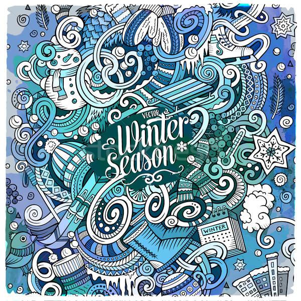 Cartoon doodles Winter season illustration Stock photo © balabolka
