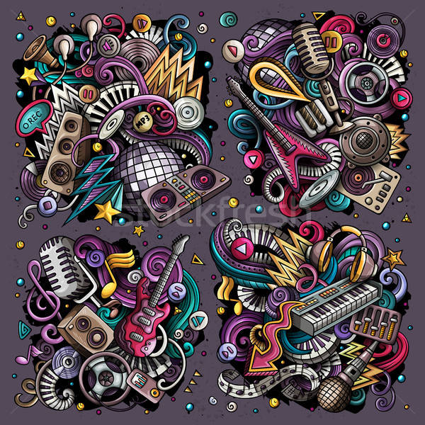 Colorful vector doodles cartoon set of disco music objects combinations Stock photo © balabolka