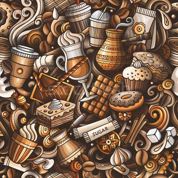 Foto d'archivio: Cartoon · cute · scarabocchi · coffee · shop
