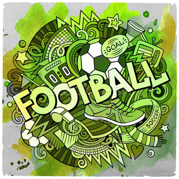 Cartoon cute dessinés à la main football illustration Photo stock © balabolka