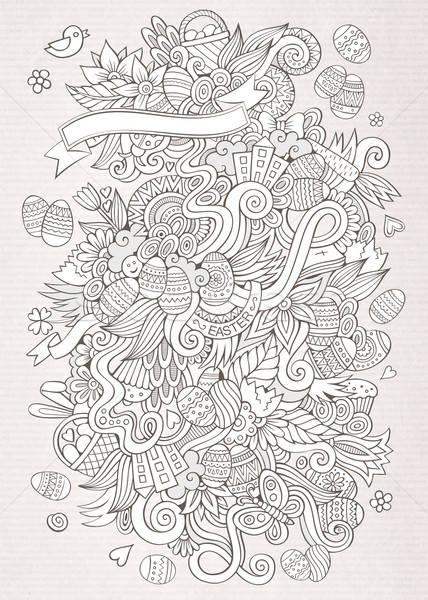 Paskalya vektör kroki karalamalar soyut dekoratif Stok fotoğraf © balabolka