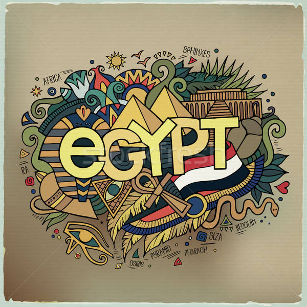 Egypt hand lettering and doodles elements background. Stock photo © balabolka