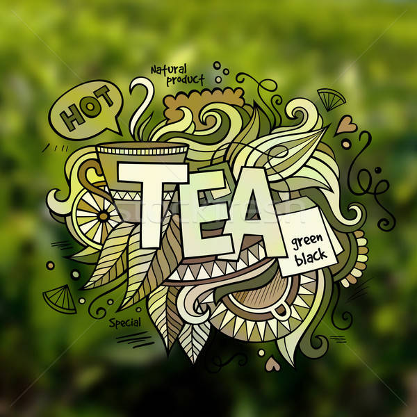 Tea hand lettering and doodles elements illustration Stock photo © balabolka