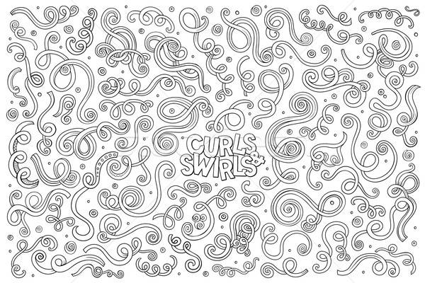 Vector hand drawn Doodle cartoon set of curls and swirls  Stock photo © balabolka