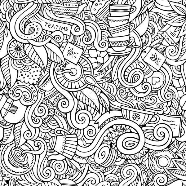 Desenho animado chá tempo estilo Foto stock © balabolka
