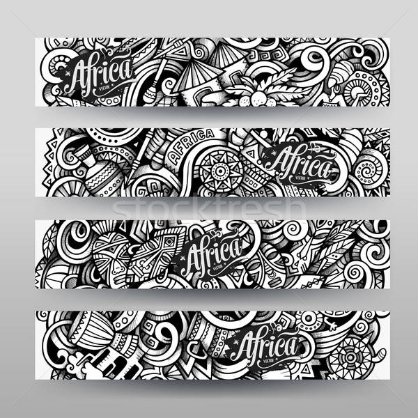 Graphics vector hand drawn sketchy trace Africa Doodle banner Stock photo © balabolka