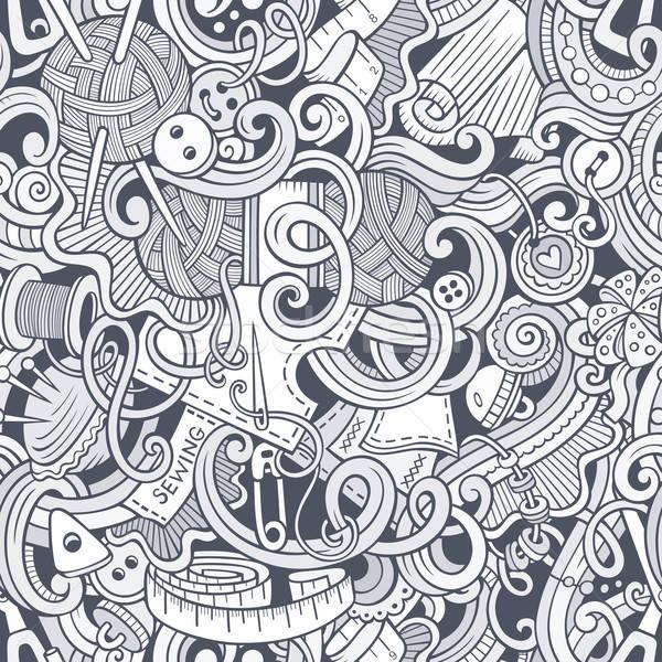 Rajz kézzel készített varr firkák végtelen minta vonal Stock fotó © balabolka