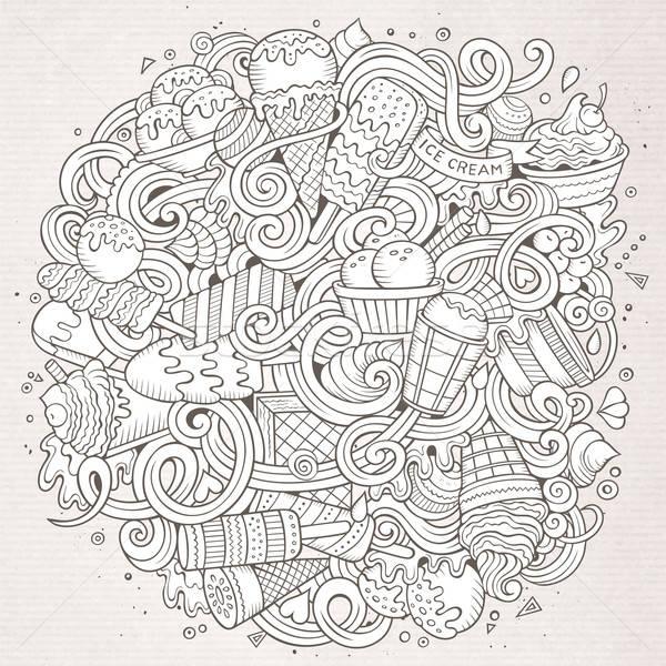 漫畫 塗鴉 冰淇淋 插圖 線 藝術 商業照片 © balabolka