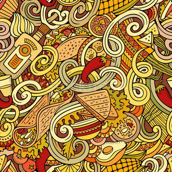 Cartoon mexicaans eten gedetailleerd objecten Stockfoto © balabolka