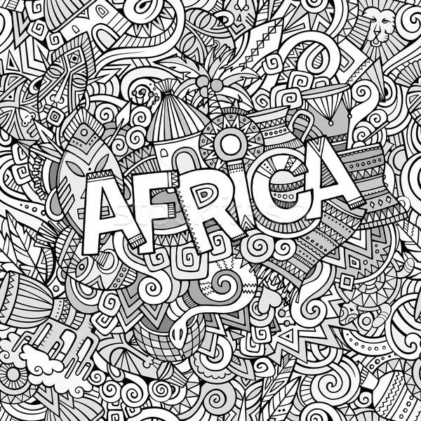 Stock photo: Cartoon cute doodles hand drawn african illustration.