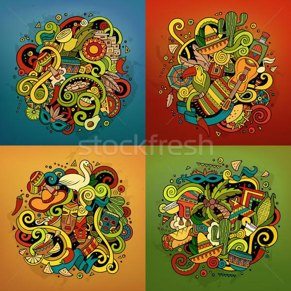Ameryka Łacińska wektora gryzmolić ilustracja amerykański Zdjęcia stock © balabolka