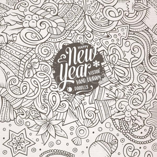 Stock photo: Cartoon cute doodles Happy New Year frame