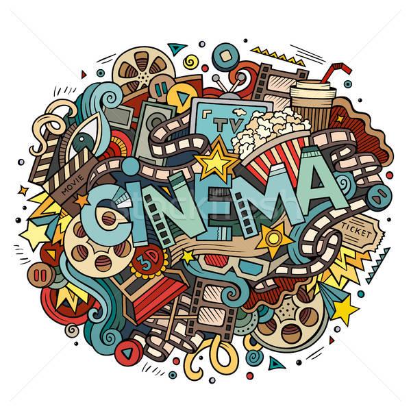 Stock photo: Cartoon cute doodles hand drawn Cinema inscription