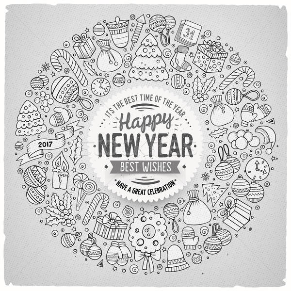 Set of New Year cartoon doodle objects round frame Stock photo © balabolka