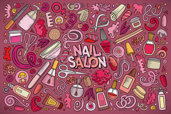 Stock photo: Vector cartoon set of Nail salon theme objects