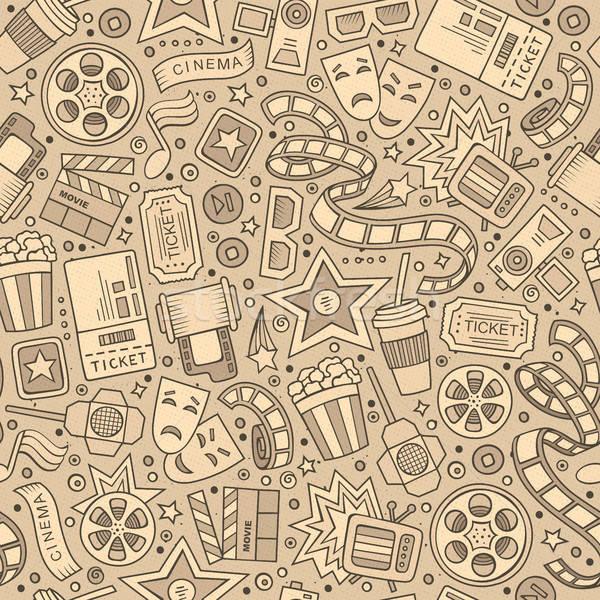 Rajz aranyos kézzel rajzolt mozi végtelen minta monokróm Stock fotó © balabolka