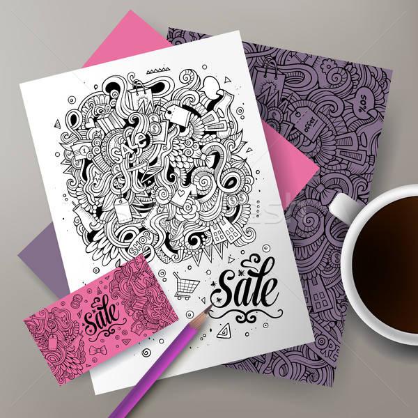 Cartoon cute doodles Sale corporate identity set Stock photo © balabolka