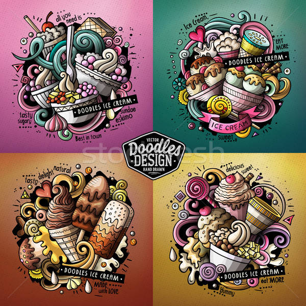 Ice Cream cartoon vector doodle illustrations set Stock photo © balabolka
