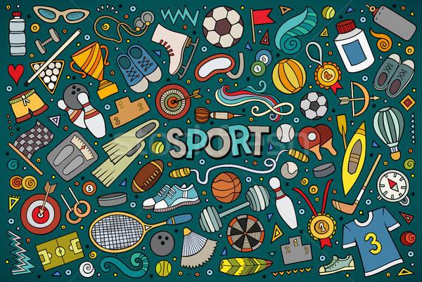 Garabato Cartoon establecer deporte objetos símbolos Foto stock © balabolka