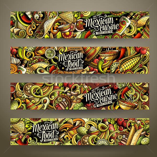 Cartoon vector garabatos comida mexicana horizontal banners Foto stock © balabolka