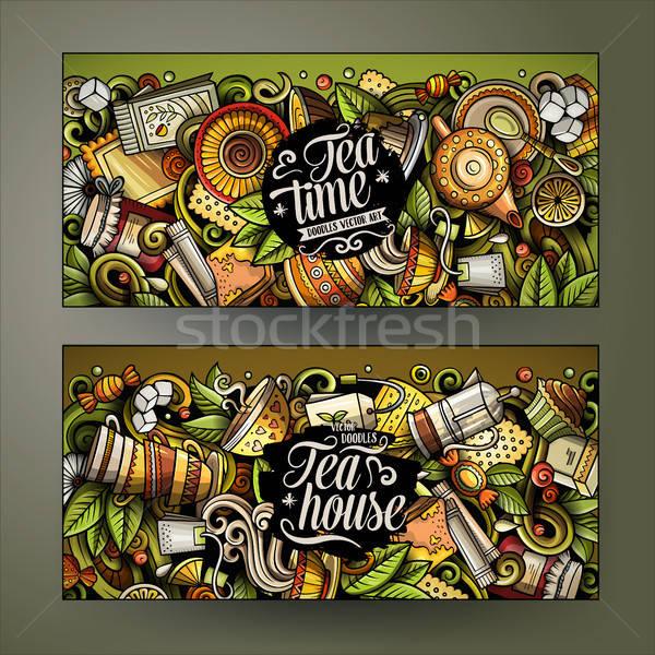 Karikatür sevimli renkli vektör karalamalar Stok fotoğraf © balabolka