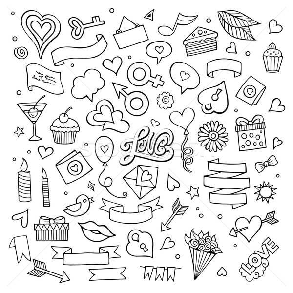 集 愛 塗鴉 圖標 向量 素描 商業照片 © balabolka