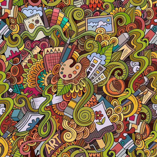 Cartoon vector art and craft seamless pattern Stock photo © balabolka