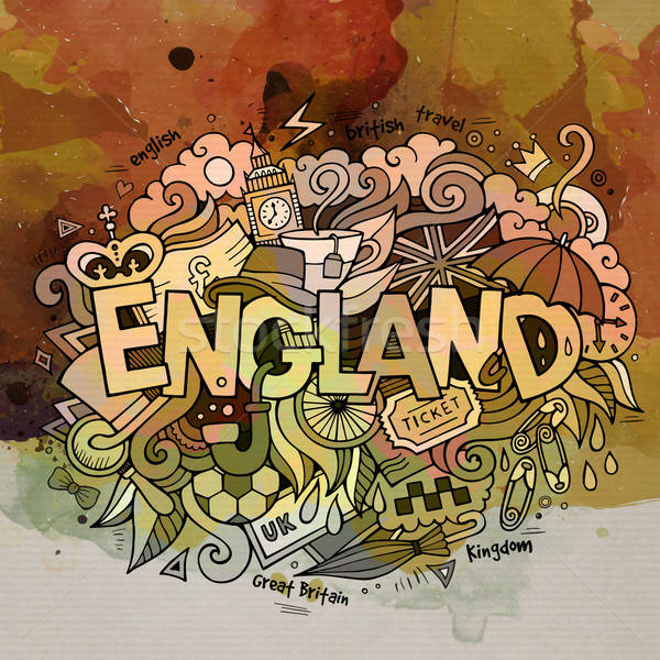 England watercolor hand lettering and doodles elements backgroun Stock photo © balabolka
