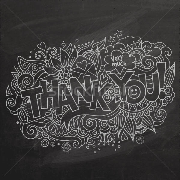 Thank You hand lettering and doodles elements background Stock photo © balabolka