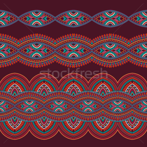 Abstract vector tribal stripes background set Stock photo © balabolka