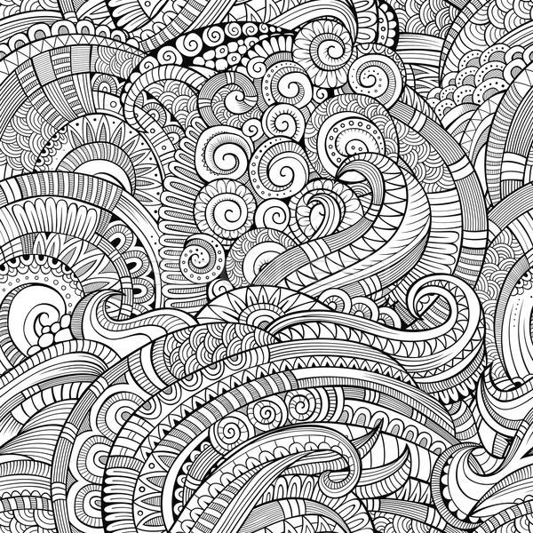 Stock photo: Abstract vector decorative hand drawn nature floral seamless pattern