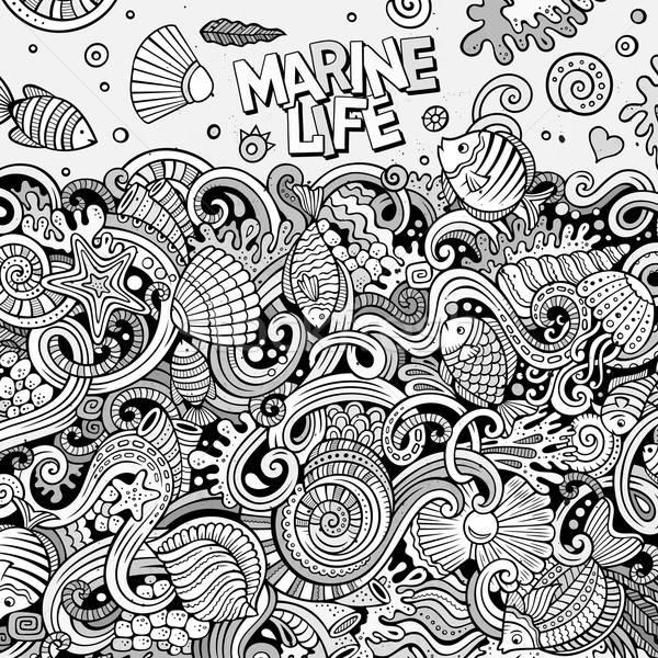 Desen animat sub apă viaţă ilustrare linie Imagine de stoc © balabolka