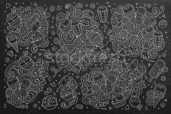 Chalkboard vector cartoon set of ice-cream objects Stock photo © balabolka