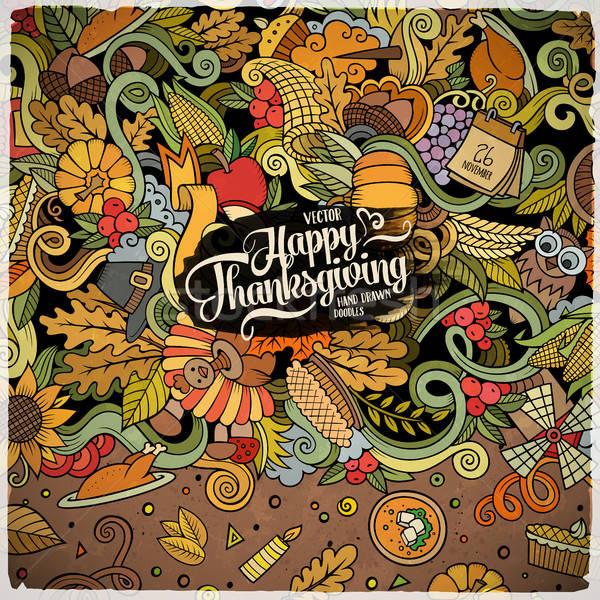 Cartoon vector hand-drawn Doodle Thanksgiving frame. Stock photo © balabolka