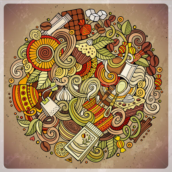 Cartoon scarabocchi cafe coffee shop illustrazione colorato Foto d'archivio © balabolka