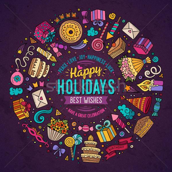 Conjunto férias desenho animado rabisco objetos colorido Foto stock © balabolka