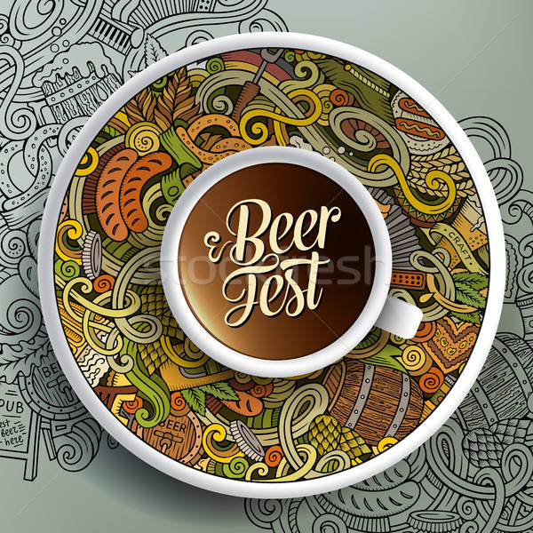 Cup of coffee Octoberfest doodles on a saucer, paper and background Stock photo © balabolka