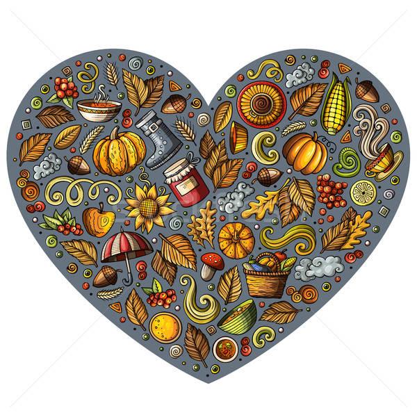 Doodle cartoon set of Autumn objects, symbols and items Stock photo © balabolka