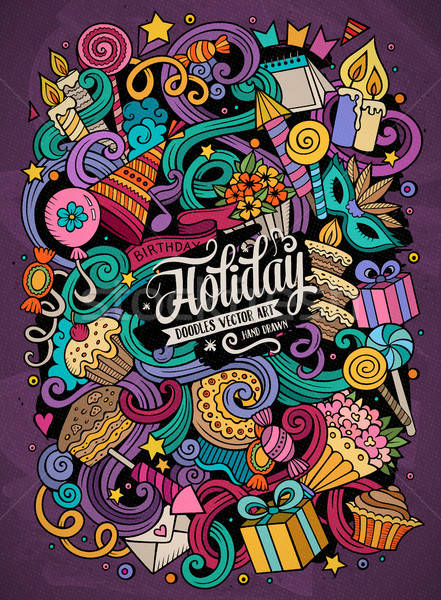 Cartoon hand-drawn doodles holidays illustration Stock photo © balabolka