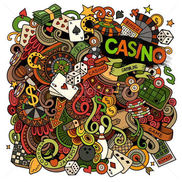 Cartoon scarabocchi casino gioco d'azzardo illustrazione colorato Foto d'archivio © balabolka