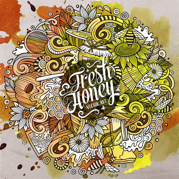Stock photo: Cartoon cute doodles Honey illustration