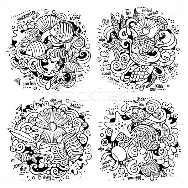 Underwater life cartoon vector doodle illustrations Stock photo © balabolka